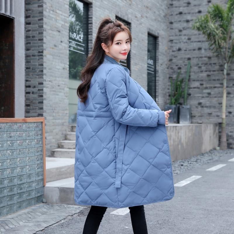 Зима сплошная длинная куртка женская стойка воротник с поясом женские Parkas толстые хлопковые мягкие плюс Размер туалетные повседневные пальто 201027
