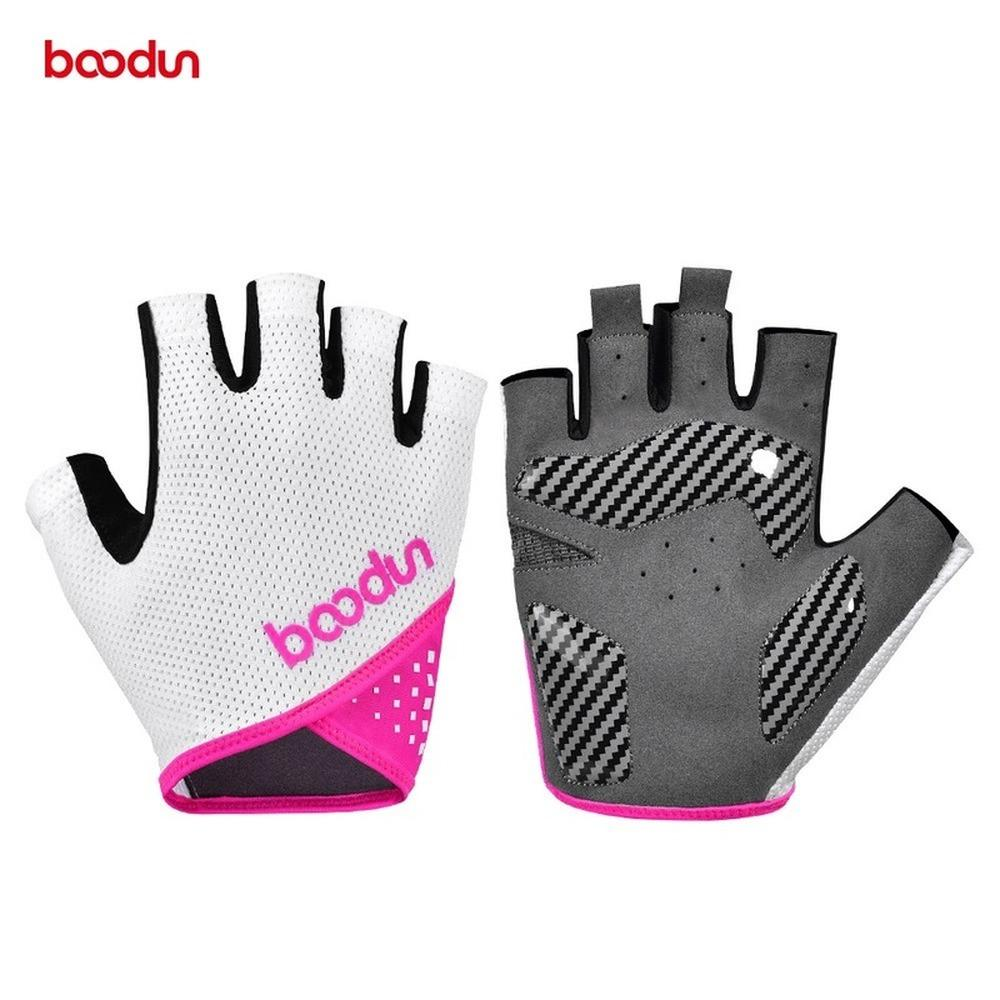 Boodun verano hombres mujeres ciclismo guantes medio dedo elástico transpirable carretera bicicleta guantes de bicicleta con gel a prueba de golpes acolchado F1222