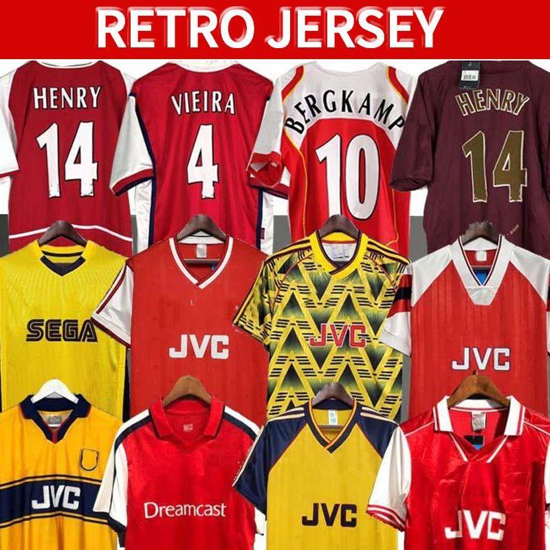 Arsen Retro Soccer Jerseys 02 05 Henry Bergkamp V. Persie Mens 94 97 Vieira Merson Adams Home Thouse 3rd Football Shirt Office