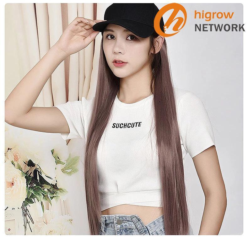 Pelo sintético de la peluca con el sombrero de una sola pieza gorra de béisbol del casquillo postizo larga de las mujeres peluca larga recta por mayor realismo naturales