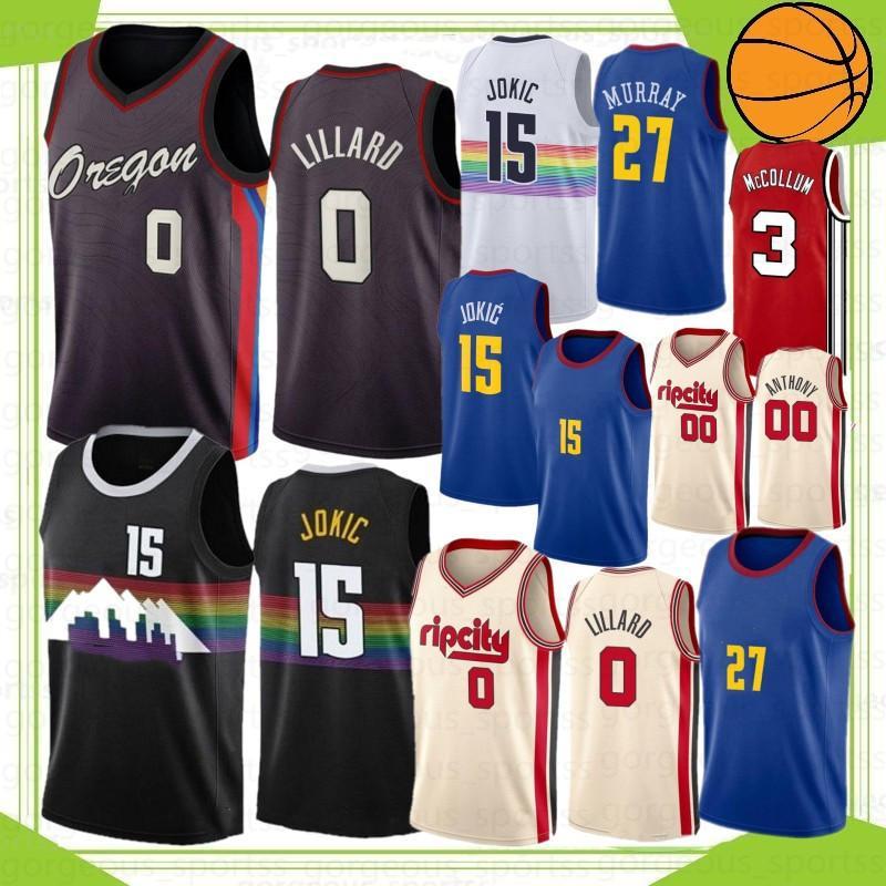 Damian 0 Lillard 15 Jokic NCAA Carmelo 00 Anthony Men College Basketball Jerseys C.J. 3 McCollum 2022 Jamal 27 Murray 2021