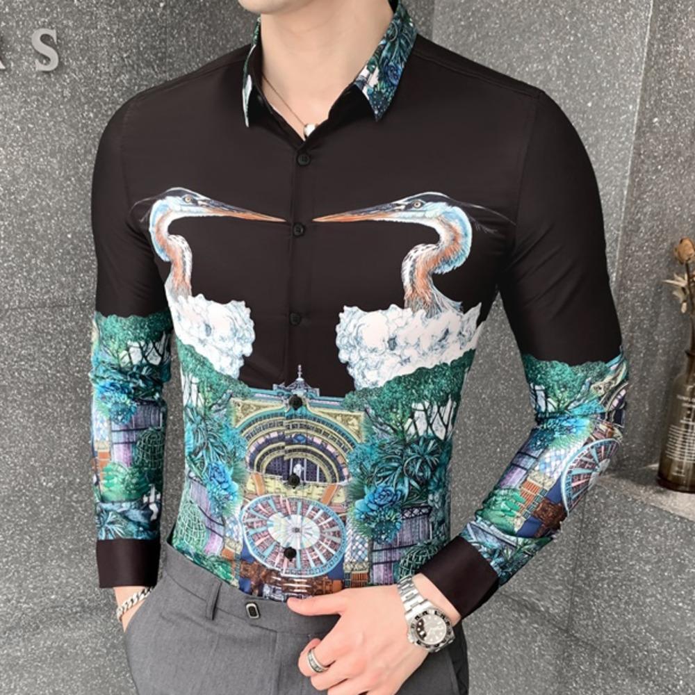 2020 Moden männlich Blumenherbst für koreanische Männer dünne lässige Passform Social Shirt Sleeve Lang Nachtclub Luxus Bluse 29z5