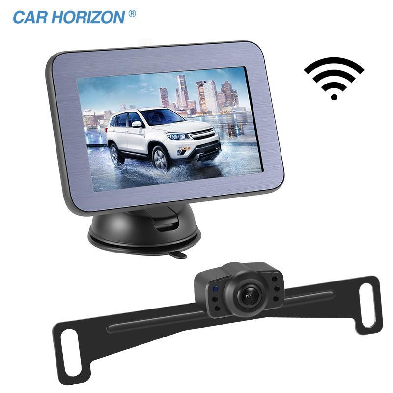 Vue arrière Vue arrière Caméras Sensateurs de stationnement Rétroviseur Miroir HD Support magnétique 5 pouces Analogie Sans Fil sans fil AW501