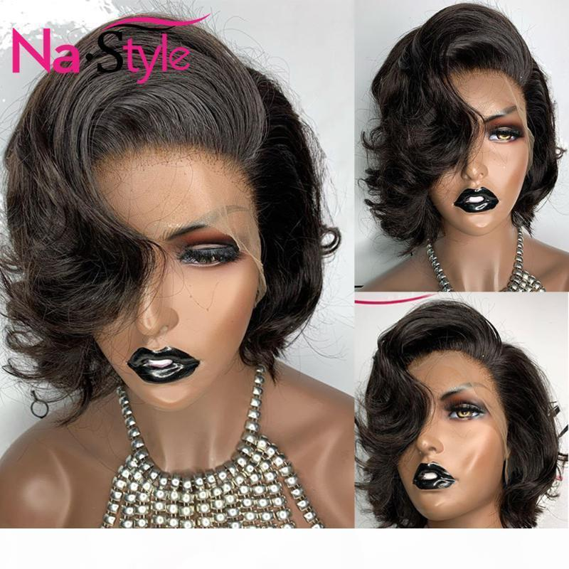Curto Bob rendas frente Wigs Preplucked Water Wave peruca de cabelo humano brasileiro 13x4 Lace cabelo Frente Humano Perucas Por Negras 130Remy