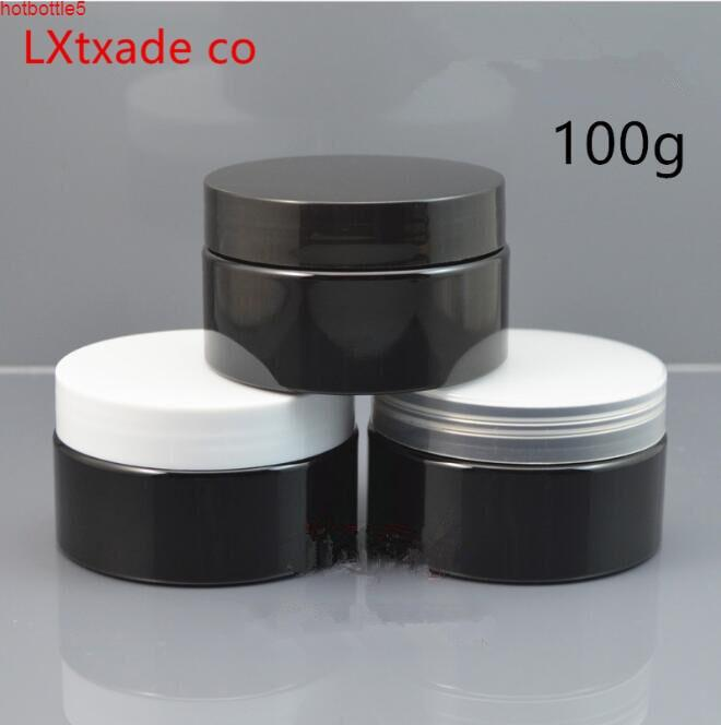 Free Shipping 100g/ml Black Plastic Empty Bottle Jar Originales Refillable Cosmetic Cream Pomade Pill packaging Containersgood qualtity