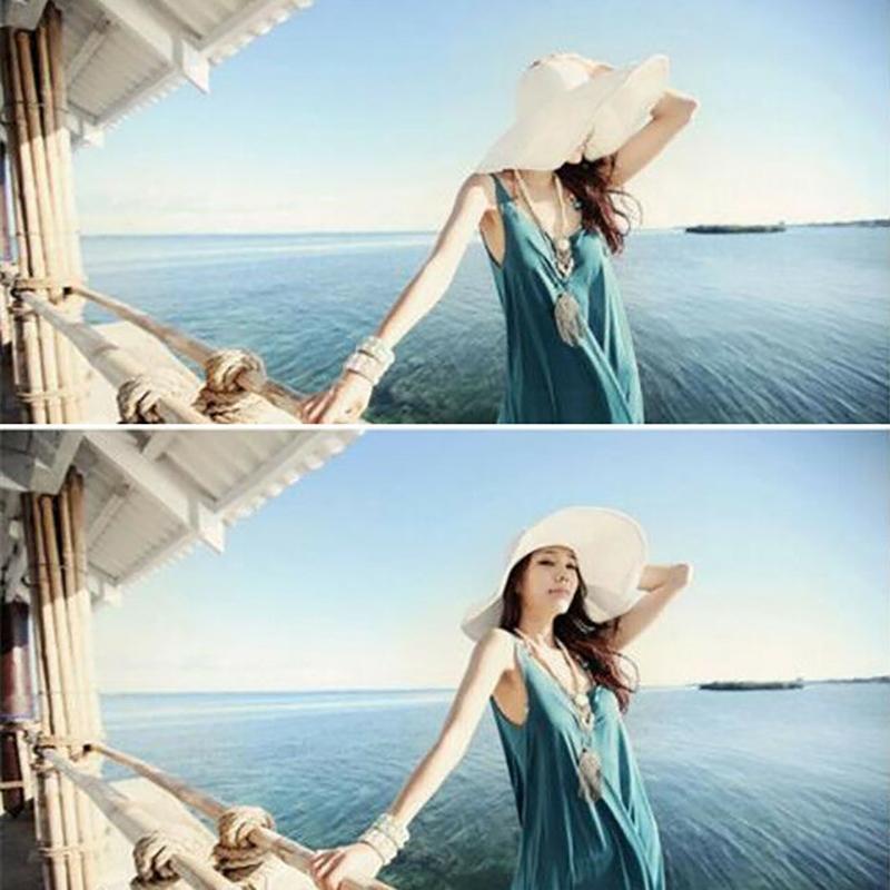 2020 Mujeres de verano Beatch Sombreros de paja Sombrero Sombrero Damas Ancho Ancho Sombreros Paja Playa Plegable Panamá Panamá Sombrero Iglesia Mucho color