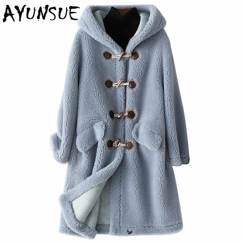 Ayunsue Yeni Yün Gerçek Kürk Kadınlar Için Giyim Kış Koyun Ceketler Mont Kadın Uzun Kapüşonlu Süet Astar Palto 978001 T200104