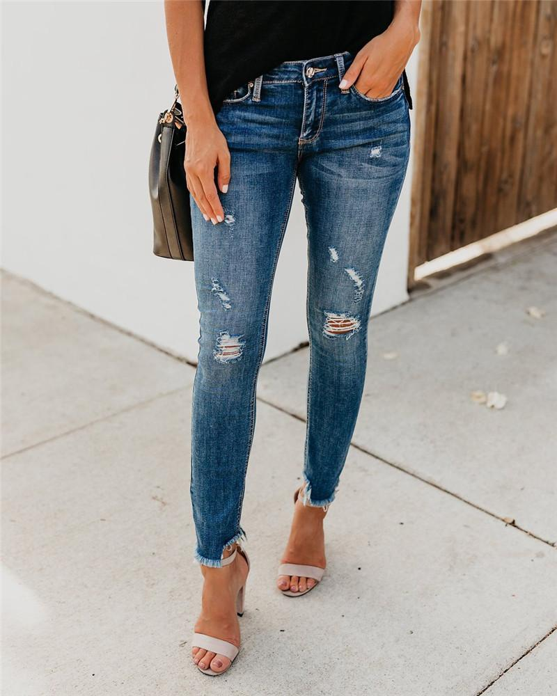 Donne Jean Stretch strappato Distressed Skinny Mid Vita Denim Pantaloni Pantaloni Slim Alades Jeans Leggings