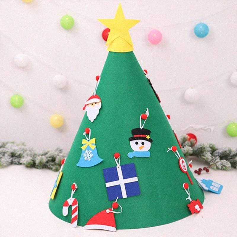 Creativo feltro albero di Natale per bambini 3.2ft albero di Natale fai da te con ornamenti per bambini per bambini regali di Natale appeso a casa s72w #
