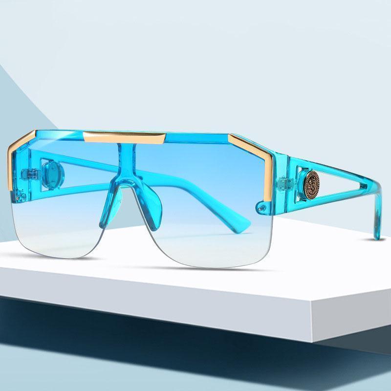 2020 Мода Негабаритные Квадратные Солнцезащитные Очки Мужчины Женщины Винтаж Металл Большой Рамка Полупронская Один Линза Солнцезащитные Очки UV4001