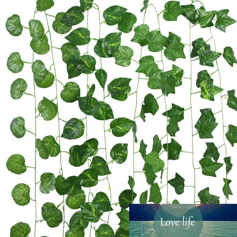 230cm 36 Blätter Künstliche Hanging Ivy-Blatt-Rebe-Girlande Grün-Blätter Creeper Pflanzen DIY Hausgarten-Sommer-Hochzeits-Dekoration