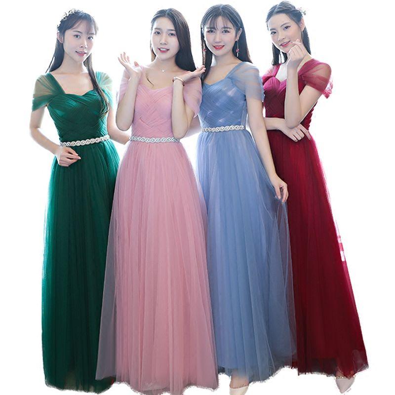 캡핑 슬리브 얇은 명주자 드레스 크리스탈 냄비 2021 층 길이 웨딩 파티 드레스 짙은 녹색 홍조 핑크