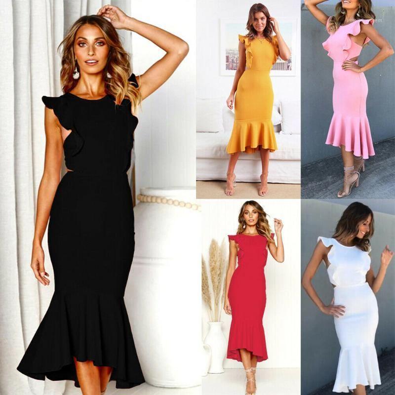 Повседневные платья Летние сексуальные женщины MIDI вечерние длинные платья оборками без рукавов BodyCon из спины элегантное платье1