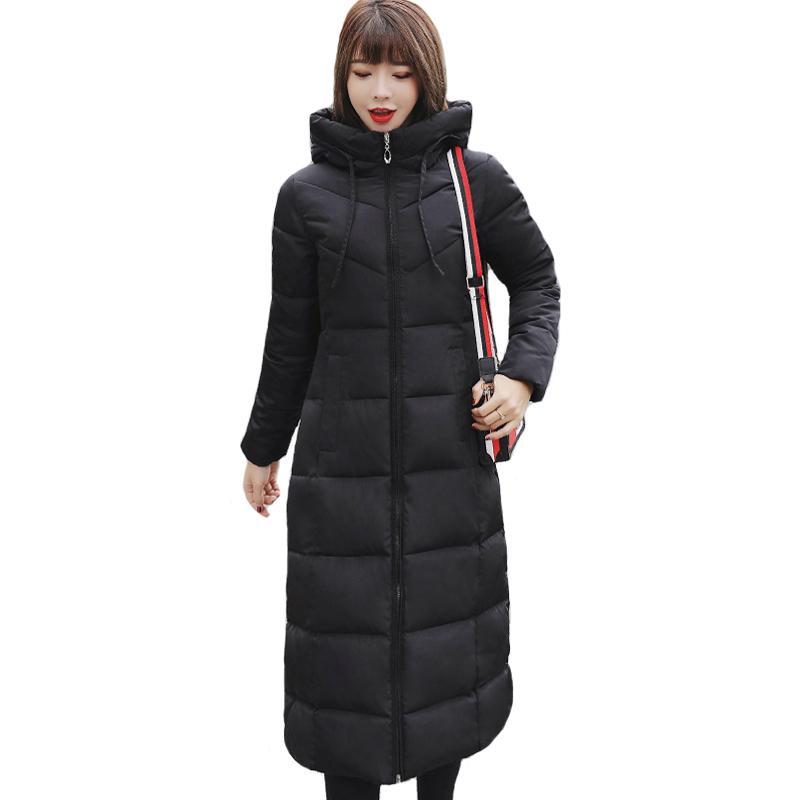Talla grande 4xl 5xl 6xl womens chaquetas de invierno con capucha collar algodón acolchado femenino abrigo invierno mujeres largo parka cálido espesor 201110