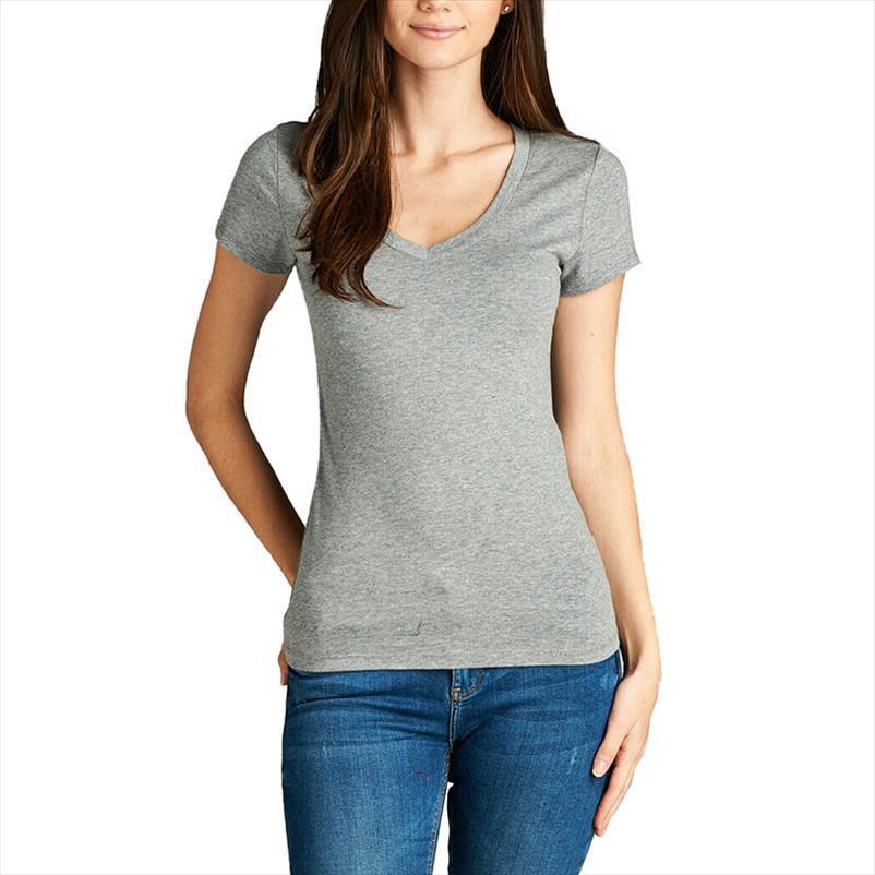 Donna di base con scollo a V T shirt manica corta Top Stretch Solid Equipaggiata Cotton Tee Per le signore estate