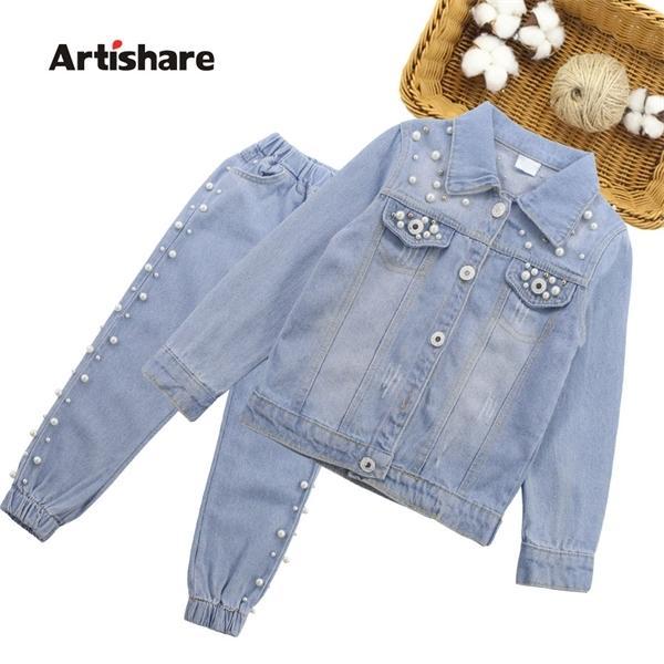 Las niñas ropa fijada decoración de la perla Chaqueta Jeans + 2PCS determinado de la muchacha ropa informal niños del estilo de ropa para las muchachas 6 8 10 12 X0923