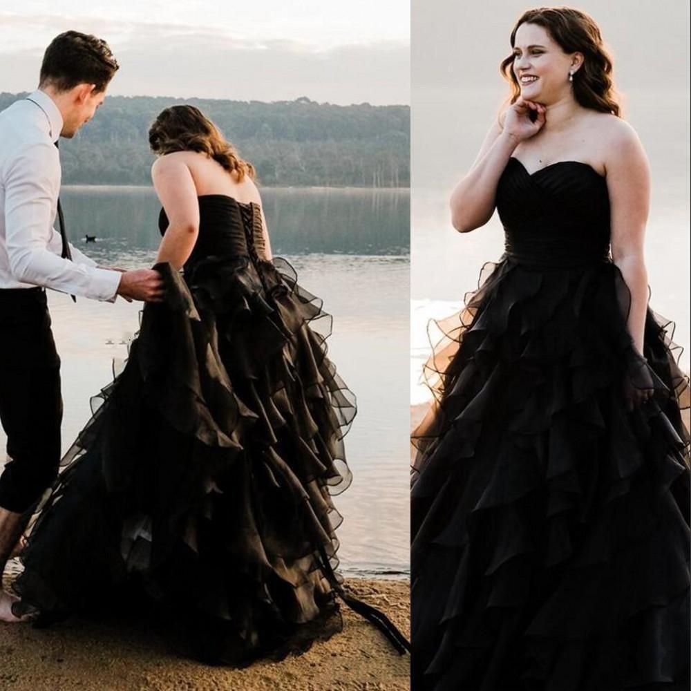 2020 Noir A-Line Robes de mariée Sweetheart Summer Beach Boho Boho Boho Ruffles Longueur De Mariage Robe de mariée Plus Taille Robes de mariée