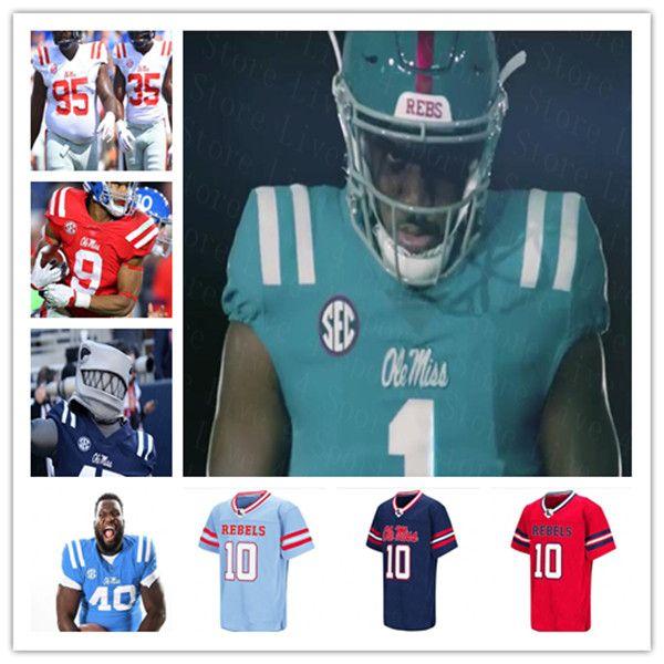 2020 Ole Miss Rebels College Football Jersey Matt Corral Jerrion Ealy Elias Moore Keidron Smith A.J. Finley Eli Manning Snoop Conner Yeboah