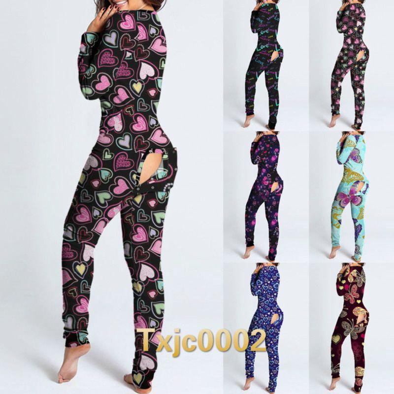 Mulheres Jumpsuits Designer 2021 New Slim Sexy Love Letters Padrão Impresso Dia dos Namorados V-decote Longo Manga Longa Oco Saída Macacões