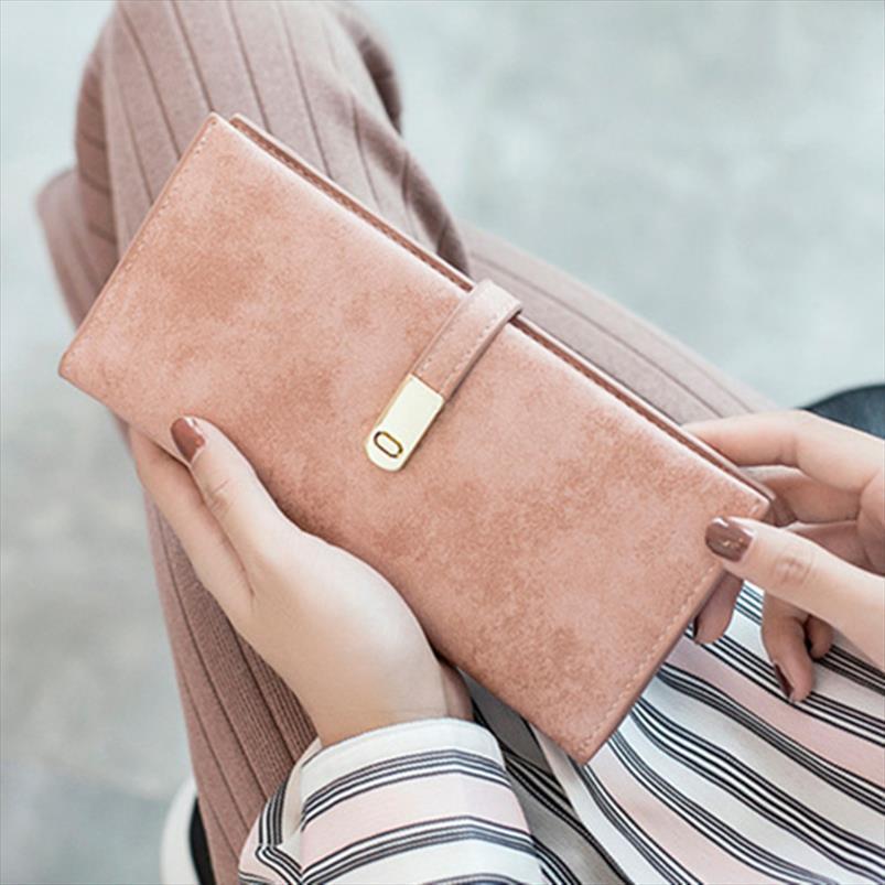 nova moda Faux Suede carteira longa Mulheres Matte Couro Senhora Cartão Carteiras Purse alta qualidade Feminino Titular Clutch Carteras