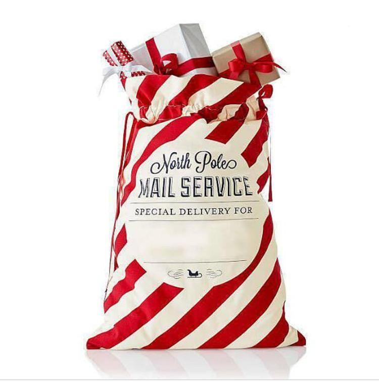 حقائب المغلف الأحمر عيد الميلاد مخطط كيس أكياس قماش سانتا كيس الرباط حقيبة قماش حقيبة كاندي زينة عيد الميلاد OWF2511