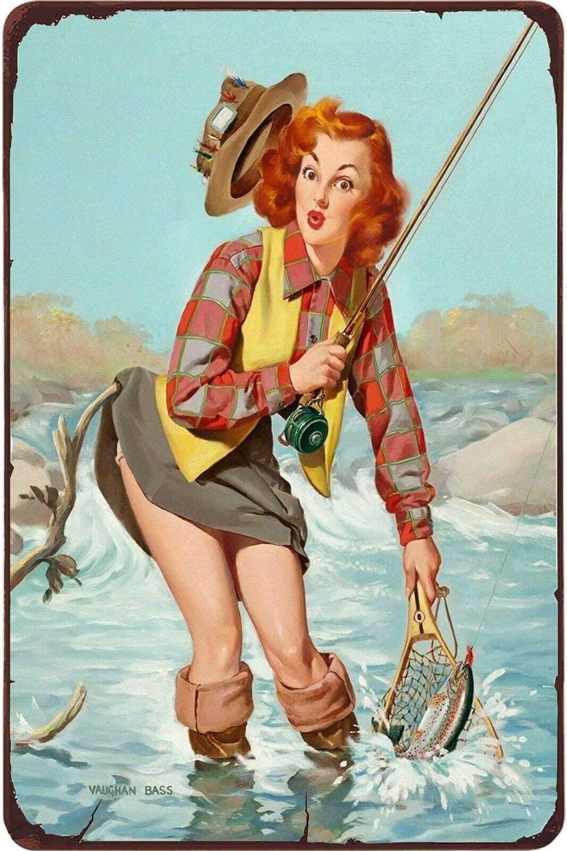 Pin Up Girl Angler Fishing.12 x 8 pollici Segno di latta Vintage Iron Painting Metal Plate Decor Decor Club Cafe Bar.