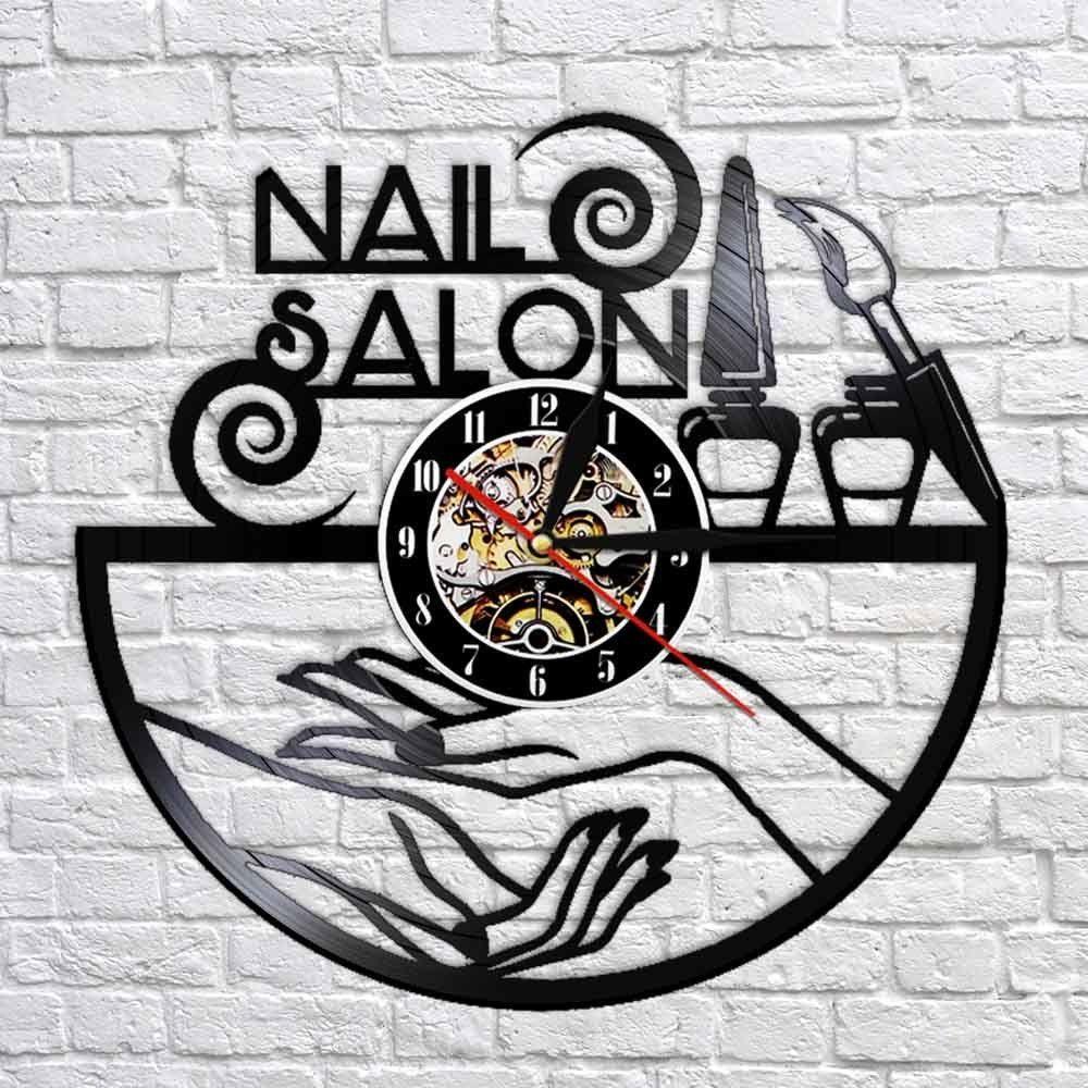 Art vinyle record horloge salon moderne design mur montres de décoration ongles magasin tech cadeaux lj201208