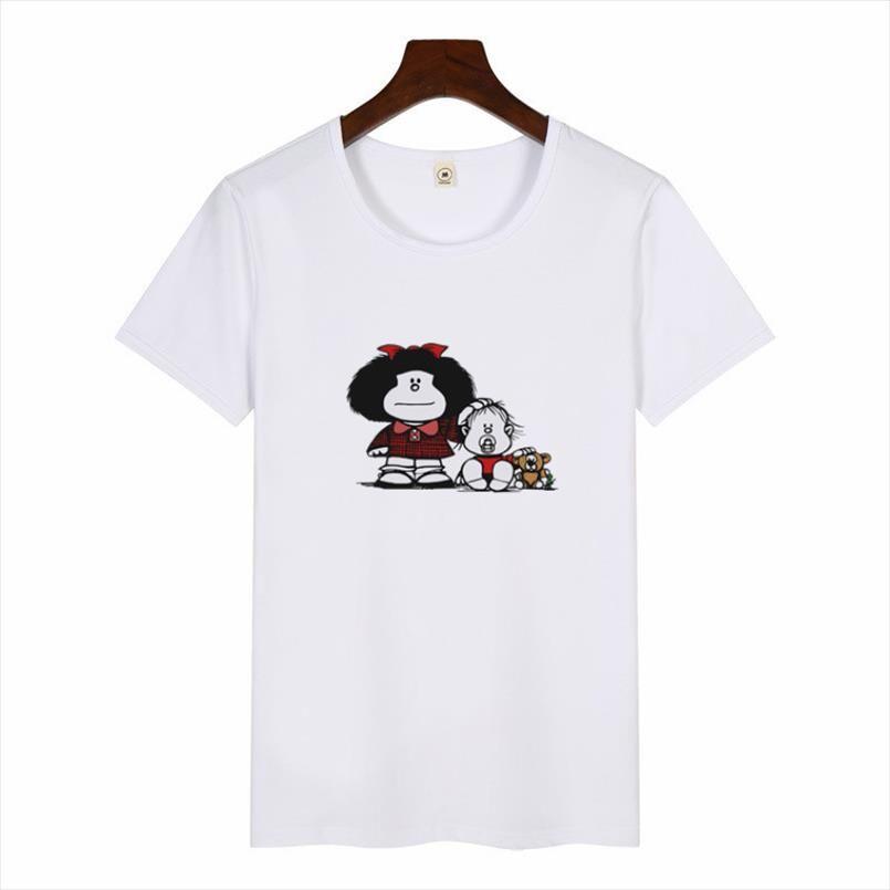 Fashion O neck Tshirt Harajuku Cartoon Cute Toda Mafalda Print T Shirt 2020 Women Short Sleeve Tops Girls Casual Kawaii T shirts