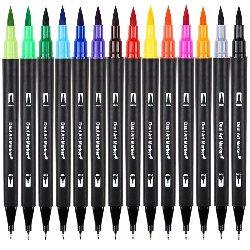 60/72/100 Renk Çift İpuçları Fırça Kalem Seti Su Bazlı Mürekkep Fırça Marker Çizim Boyama Suluboya Marker Kalem Okul Malzemeleri Için