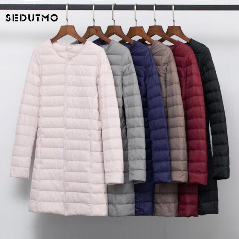 SEDUTMO Winter Plus Size 4XL Women Duck Down Jackets Long Ultra Light Coat Casual Puffer Jacket Slim Black Autumn Parkas 210203