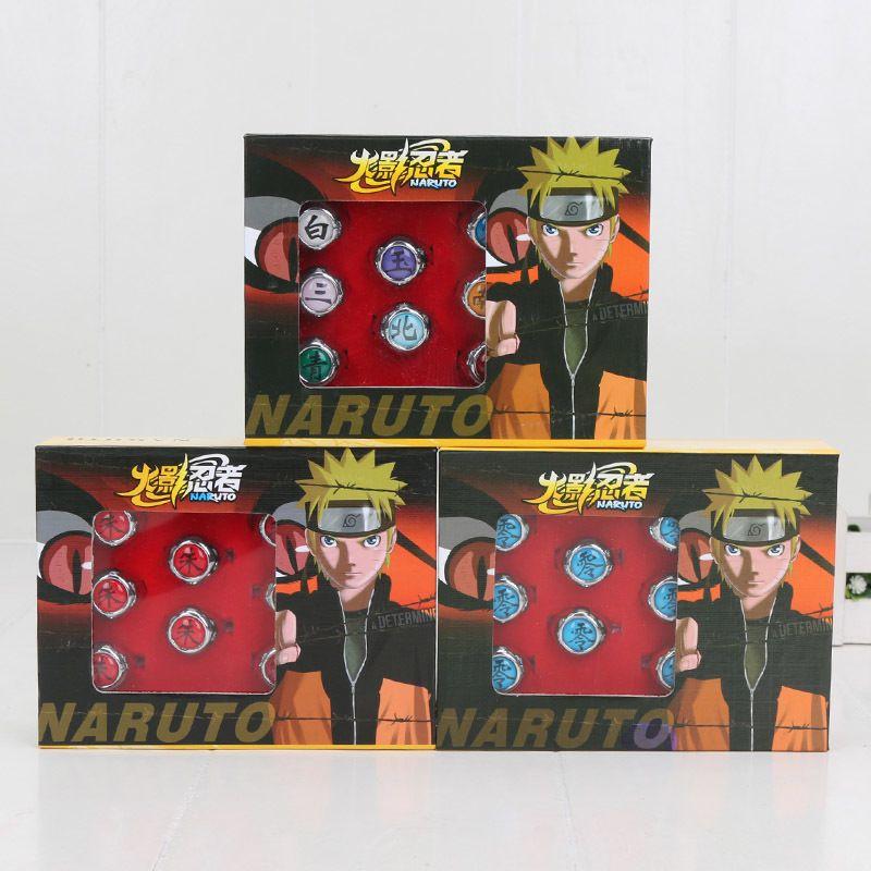 10 pçs / set Naruto Akatsuki liga de liga de anel pein uchiha itachi anel figuras de ação japonesa anime cosplay brinquedos 1008