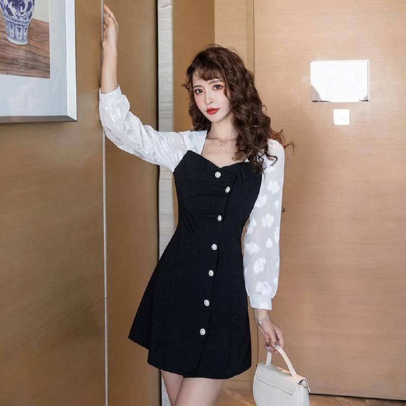 COIGARSAM Französisch Art Patchwork-Frauen einteiliges Kleid der koreanischen neue Frühlings-Weinlese-hohe Taillen-Quadrat-Kragen-Kleid-Schwarz 8006