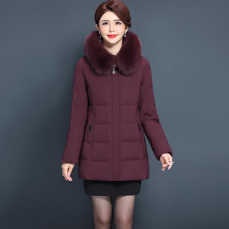 Women Duck Down Jacket Winter Down Coat Natural Fur Collar 2020 Thick Warm Coats Outwear Puffer Jackets Plus Size 6XL YQ415