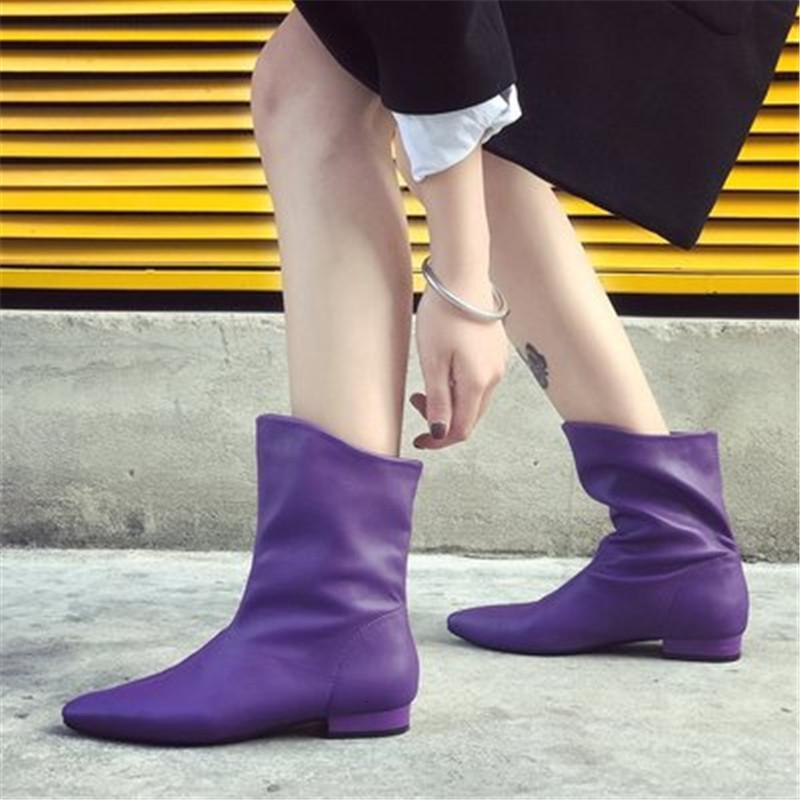 Yeni kadın 2021 moda ayakkabı işaret etti Seksi batı kısa bayanlar orta buzağı botları mavi gri kadın J2GT