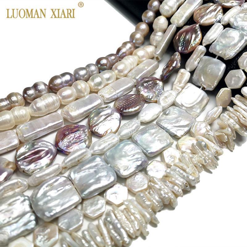 Top AAA Natürliche Süßwasserknopf Square Sechseck Form Barock Perlenperlen für Schmuckherstellung DIY Armband Halskette Ohrringe 201211