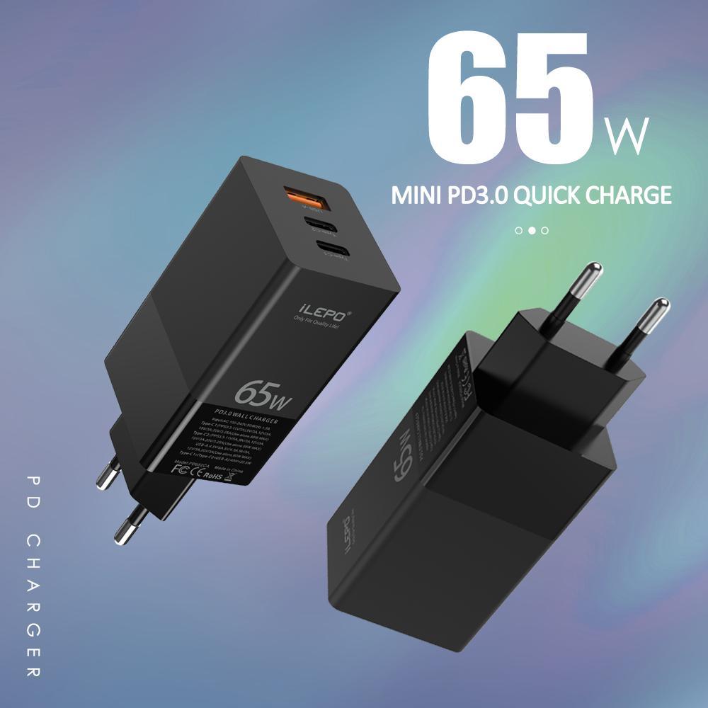스마트 폰 태블릿에 대한 빠른 기술 QC3.0 벽 충전기와 PD 충전기 65W 빠른 충전기 (포트 USB C 듀얼 포트 타입 C)