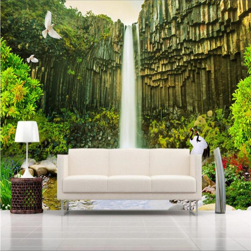 beibehang Wallpaper Mural Wall Sticker Aesthetic Rocky Mountain Waterfall Landscape Background Painting papel de parede