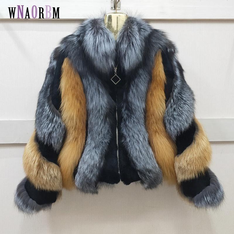 Furma damska Faux Natural Coat Red + Black Winter Lady Ciepłe importowane całej skóry