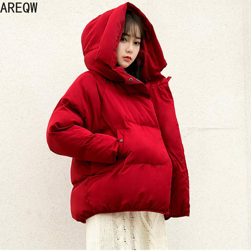 Women Plus Size Short Loose Parkas Casual Warm Winter Jacket Coat Red Cotton-padded Hooded Outerwear Autumn Thicken Clothing 210203