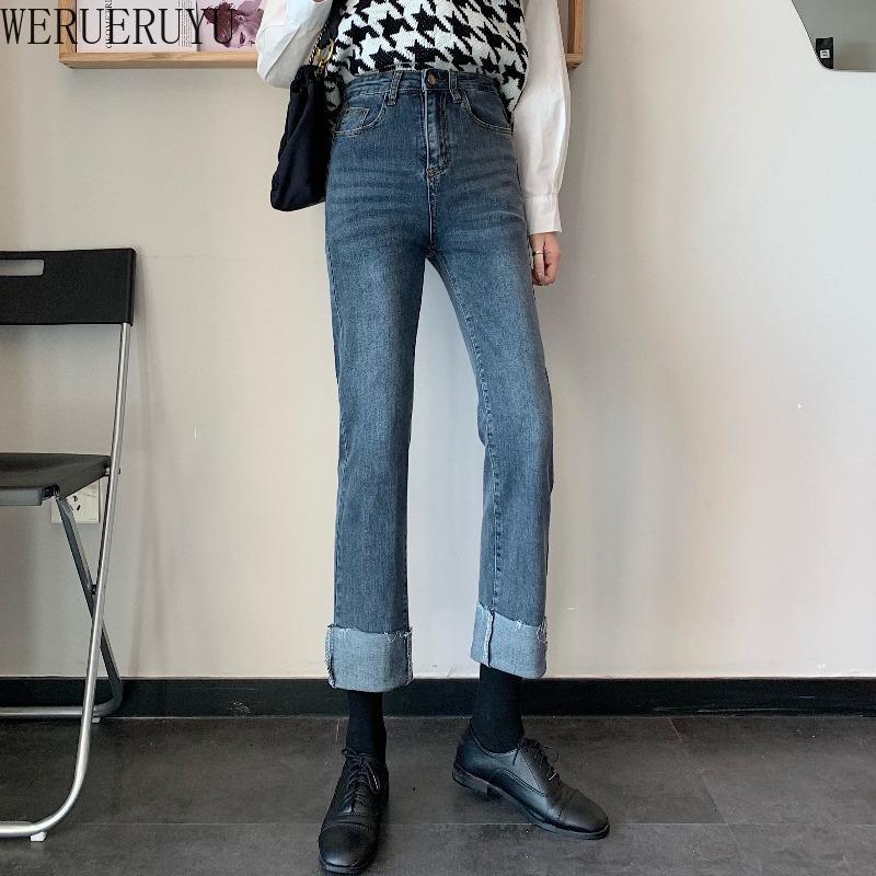 Werueruyu Женские джинсы брюки девочек досуг все-матч мода свободный шикарный свернущий подол
