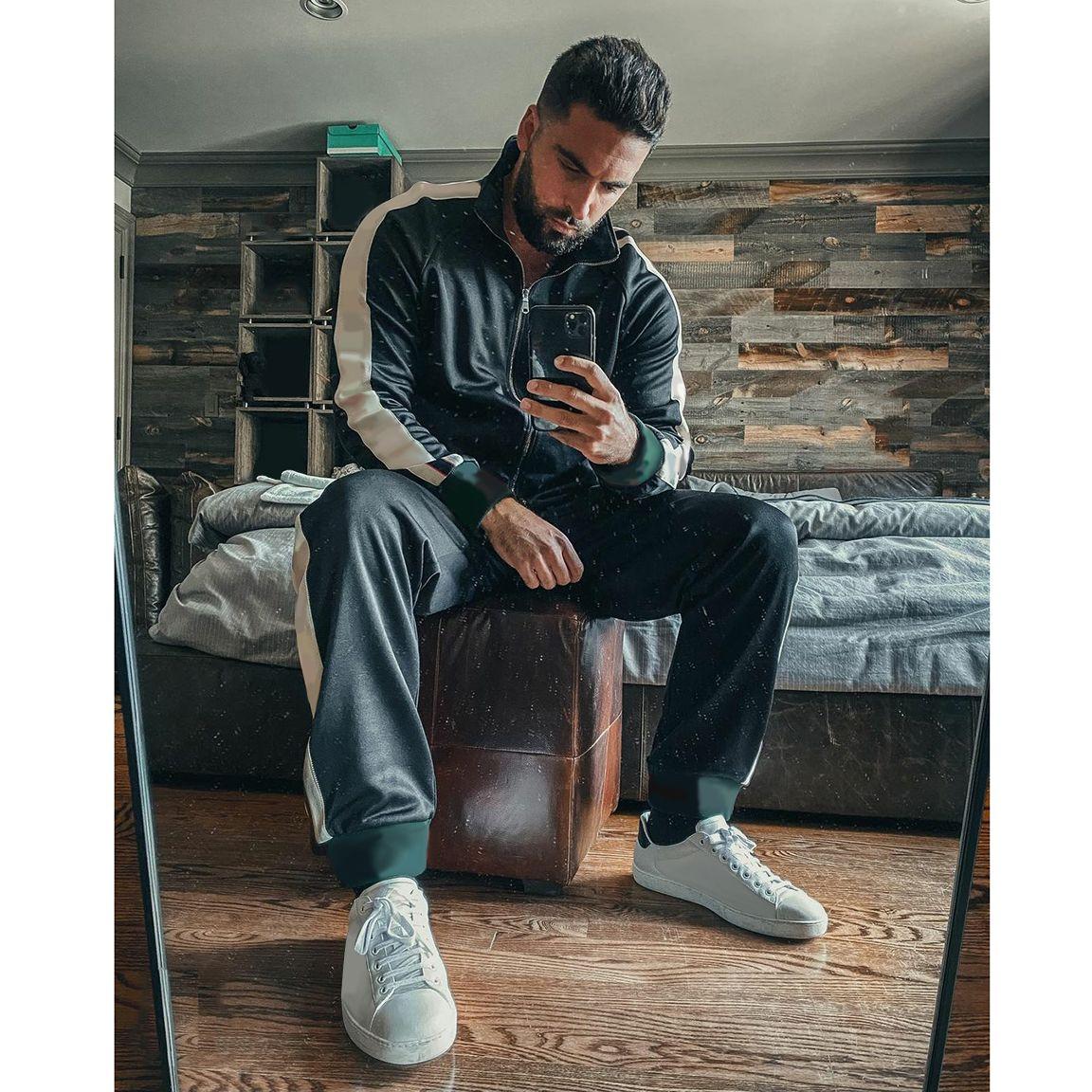 İtalya'da Yapılan Mens Aktif Eşofman Moda Harfler Dize Ceket Sweatpants Casual Fermuar Iki Parça Erkek Hiphop Streetwear Için Kıyafetler