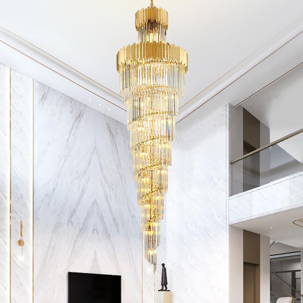 거실에 대 한 럭셔리 현대 샹들리에 골드 긴 계단 빛기구 큰 복도 실내 계단 LED 교수형 램프