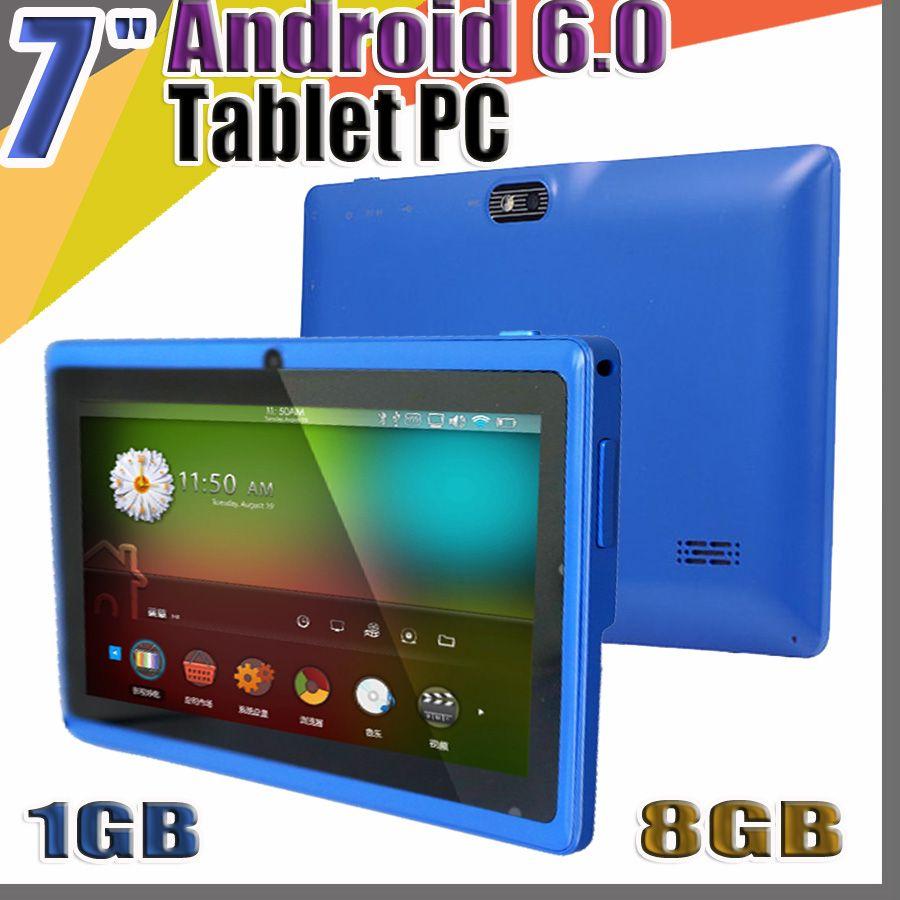 "168 Allwinner A33 쿼드 코어 Q88 Q8 태블릿 PC 듀얼 카메라 7 ""7 인치 용량 스크린 안드로이드 6.0 1기가바이트 / 8기가바이트 와이파이 구글 플레이 스토어 플래시 C-7PB"