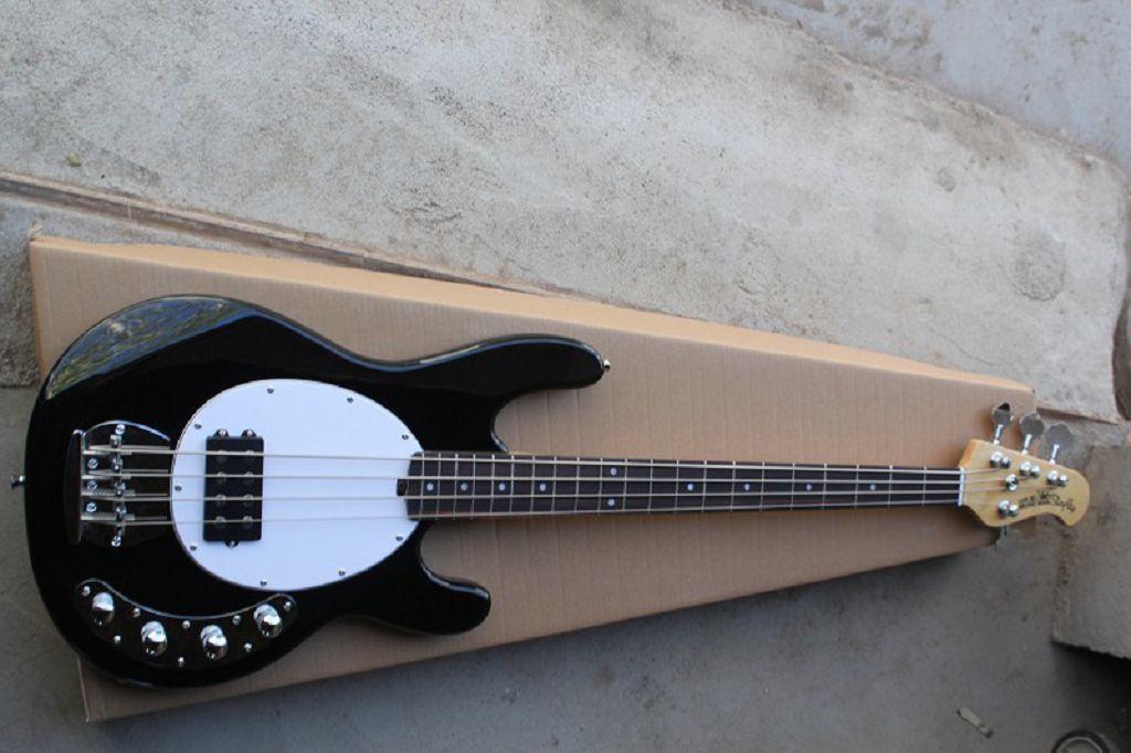 LIVRAISON GRATUITE Noir 4 Strings Musique Man Stingray Bass Basse électrique avec Circuit Amplificateur de batterie 9V Circuit actif Guitare électrique