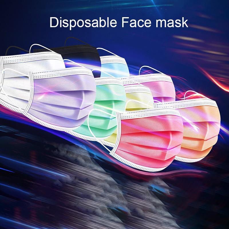 Auf Lager Drei Schichten von bunten Einweg-Gesichtsmaske für Erwachsene Schutzmasken mit Schmelz Spray personalisierten Designer Masken Druck