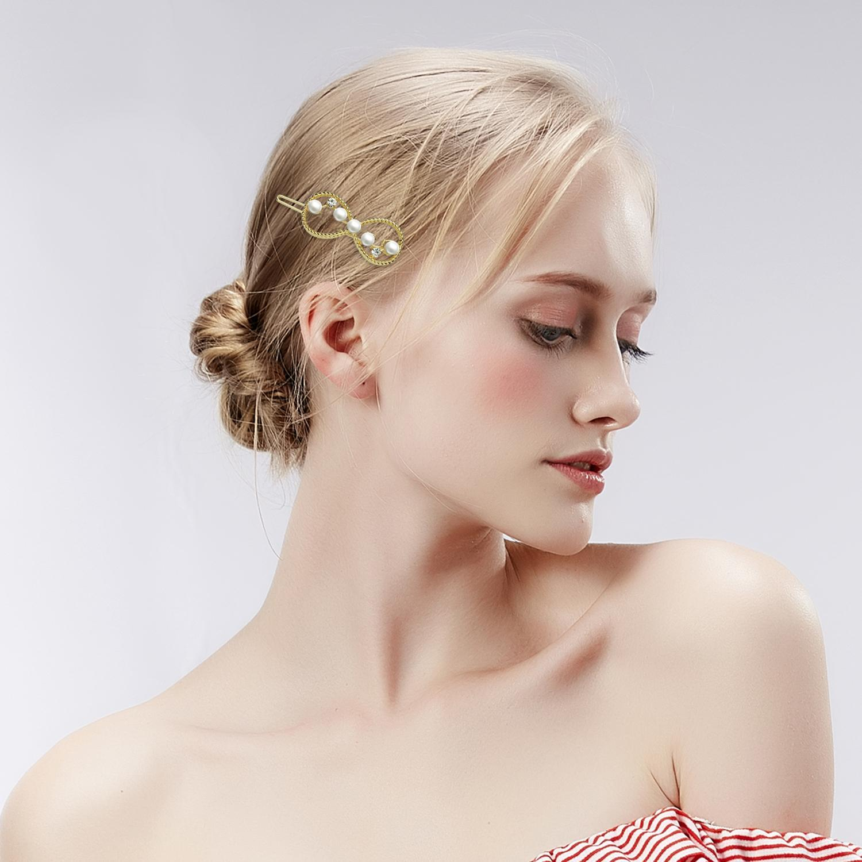 Girls Pearl Rhinestone Words Hairpin Hair Barrette Hair Clip Headwear Sweet Gift