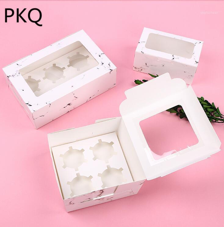 10 stücke Weiß Cupcake Box Bäckerei Fall Kraftpapier Fensterschachtel für Muffin Hochzeitsfest Cupcake Container Weiße Kuchenboxen Verpackung1
