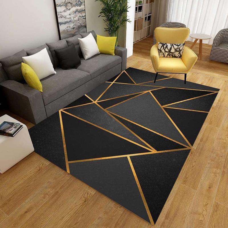 Geométrico Impresso Tapete na sala de estar Anti-deslizamento Lavável Tapetes Grandes Tapetes Bedside Bedside Sofá Tapete de Chão Decoração Área macia Tapetes