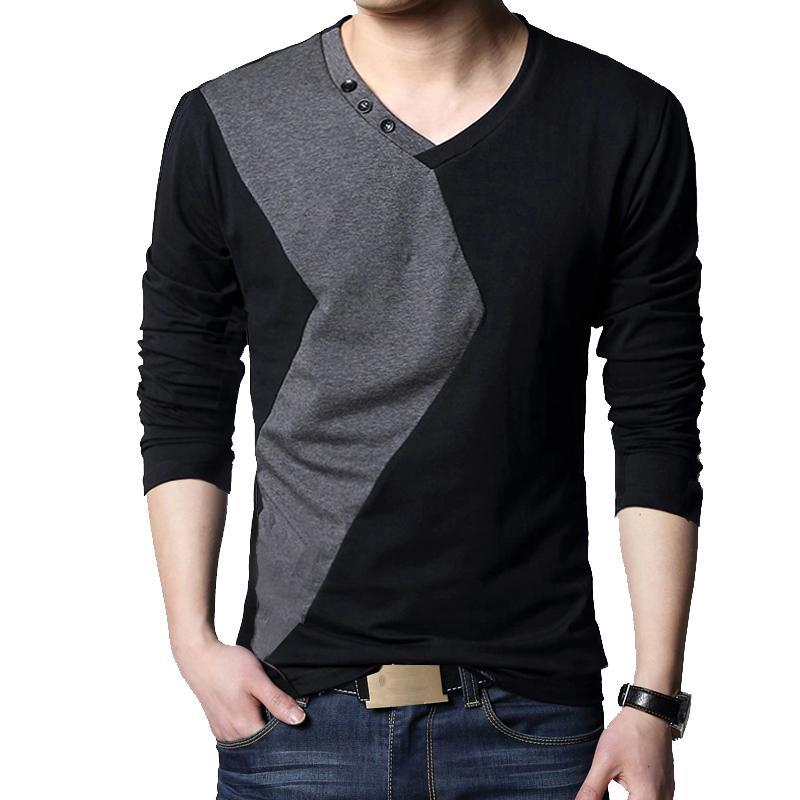BROWON Marka Sonbahar Erkek T Shirt Moda Streetwear Uzun Kollu V Yaka Renk Patchwork Pamuk Tişörtlü Erkekler 201.004