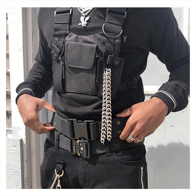 Ayarlanabilir Siyah Yelek Hip Hop Streetwear Fonksiyonel Taktik Harness Göğüs Rig Kanye West Bel Paketi Göğüs Çanta Moda Naylon c5